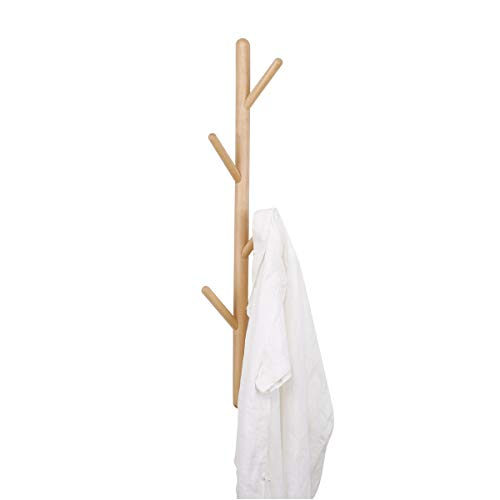 LOHO Natural Wood Coat Rack Wall Mounted 4 Hooks Hat Clothes Scarves Rack Door Entryway Hanger Hall Tree Wood, Beech