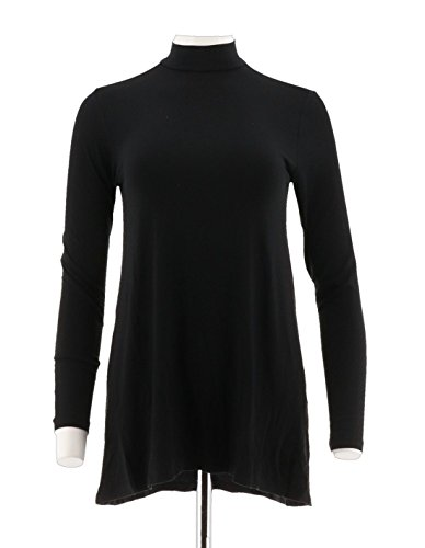 Halston Essentials Mock Neck Tunic Forward Seams A296772, Black, M from H by Halston