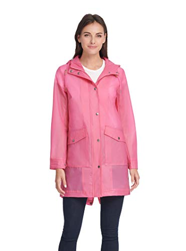 Hooded Translúcido Levi's Para Manga Leather Larga Jacket Anorak Mujer Rubberized Faux Rosa qgHPwSEg