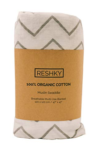 Reshky Organic Muslin Cotton Swaddle Blanket - XL Soft Receiving Blanket Wrap, Safe for Newborns & Infants, Gender Neutral Baby Gift - Unisex Grey Chevron Pattern (Best Gender Neutral Christmas Gifts)