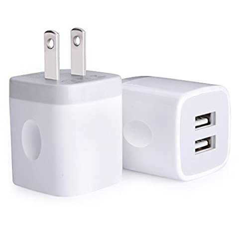 USB Wall Charger, Charger Adapter, Ailkin 2-Pack 2.1Amp Dual Port Quick Charger Plug Cube for iPhone 7/6S/6S Plus/6 Plus/6/5S/5, Samsung Galaxy S7/S6/S5 Edge, LG, HTC, Huawei, Moto, Kindle and (Wall Adaptor For Iphone 5)