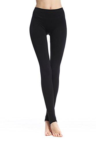 Belugue Women's Stirrup High Waist Soft Seamless Full Length Leggings Black XL Ladies Stirrup