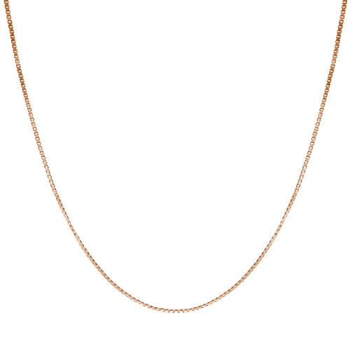 Honolulu Jewelry Company 14K Solid Rose Gold 0.7mm Box Chain Necklace (18 - Rose 14k Charm Gold