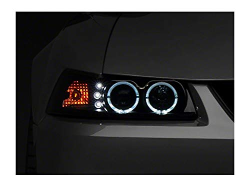 Mustang Dual Projector - Raxiom Smoked Projector Headlights - Dual LED Halo - for Ford Mustang 1999-2004