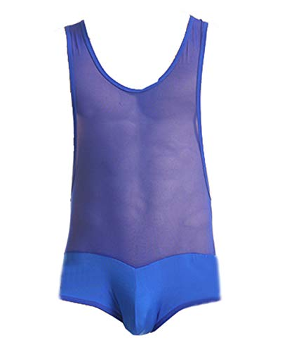 NIDREON Mens Ice Silk Mesh Patched Vest Bodysuit Jumpsuit Brief Underwear Blue XL
