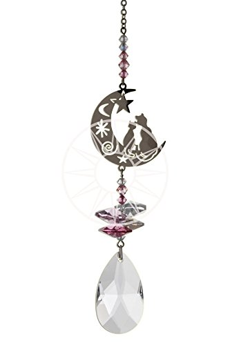 9ae6eaa55 Swarovski Crystal Fantasy Hanging Suncatcher/Rainbow Maker + 38mm Almond -  TWO CATS IN THE MOON - PINK: Amazon.co.uk: Kitchen & Home