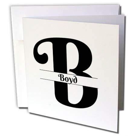 Boyds Greeting Card - 3dRose BrooklynMeme Monograms - Bold Script Monogram B Boyd - 6 Greeting Cards with envelopes (gc_304732_1)