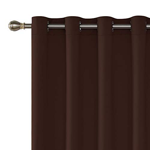 Deconovo Blackout Drape Wide Width Grommet Curtains Bedroom Curtains for Windows 100 x 84 Inch Chocolate 1 ()