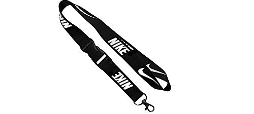 27a37e2fdb3d8 Premium Lanyard Black with White Logo Detachable Lanyard Keychain Holder