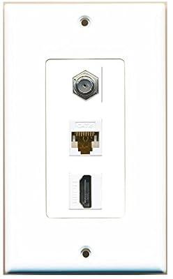 RiteAV Decorative 1 Gang Wall Plate 3 Port - Coax (Ivory) Cat6 (Ivory) HDMI (Ivory)