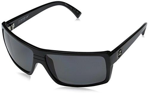 VonZipper Snark Polarized Rectangular Sunglasses,Black Gloss,One Size
