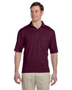 Jerzees Men's SpotShield Jersey Pocket Polo,Maroon, 3XL