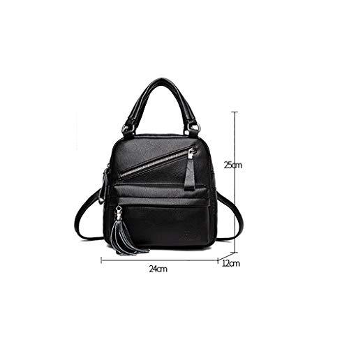 Ladies Casual Zaino Alla Colors Five Lock E Backpack 12 24 Moda 25cm colore Pu Handbag B Leather Zipper XqI4wR4xS