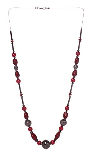 [Veenajo Womens Elegant Deep Red Bead Necklace Long Chain Necklace, Fashion Costume Jewelry] (90s Era Costumes)