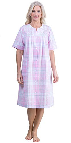 Miss Elaine Short Seersucker Embroidered Snap Front Robe - Pink Plaid (Pink Plaid, 2X)