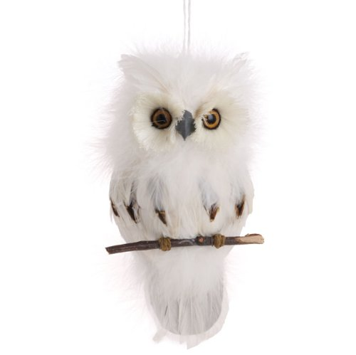 flat white feather owl on branch christmas tree ornament 75 inches long amazoncouk kitchen home