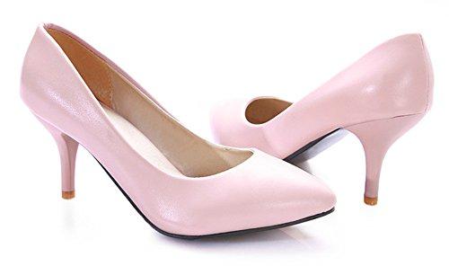 Easemax Para Mujer Elegante Punta Estrecha Tacones De Aguja De Estilete De Corte Bajo Resbalón En Las Bombas Zapatos De Color Rosa
