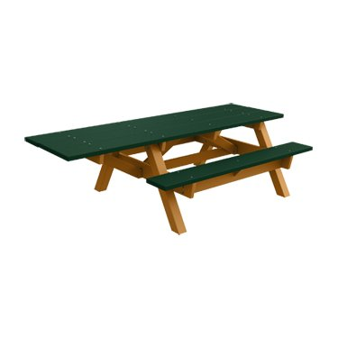 (ADA - 1 Chair) Traditional Recycled Plastic Picnic Table - Green - Cedar Frame