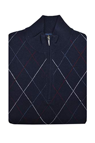 Brooks Brothers Mens 136079 Wool Blend Ribbed Half Zip Sweater Navy Blue Argyle