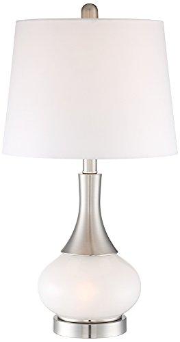 Table Light Base Lamp Night (Serrena White Glass Night Light Table Lamp)