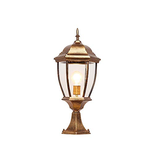 KMYX European-Powered E27 Pillar Lantern Garden Patio Path Lighting Post Lamp Lights Decoration Community Lawn Waterproof IP55 (Color : Bronze, Size : Height 41cm)
