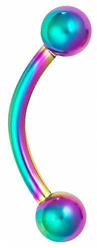 (16g 8mm Daith Earring, Eyebrow Ring and Rook Piercing Jewelry, Rainbow Titanium IP Plated Barbell )