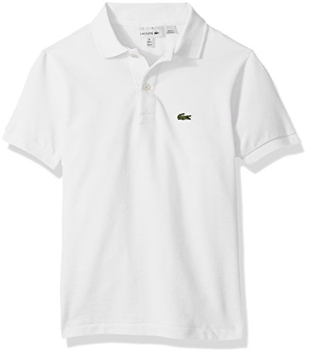 Lacoste Boys' Big Classic Short Sleeve Petit Piqué Polo Shirt, White, 16Y
