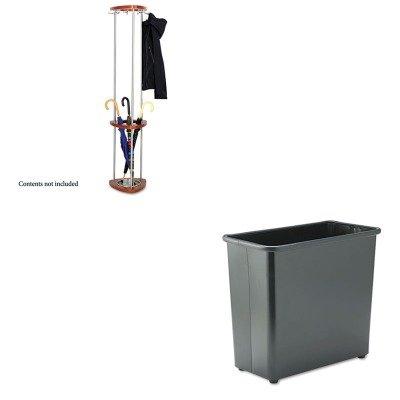 L - Value Kit - Safco Mode Wood Costumer with Umbrella Stand (SAF4214CY) and Safco Fire-Safe Wastebasket (SAF9616BL) (Safco Mode Costumer)