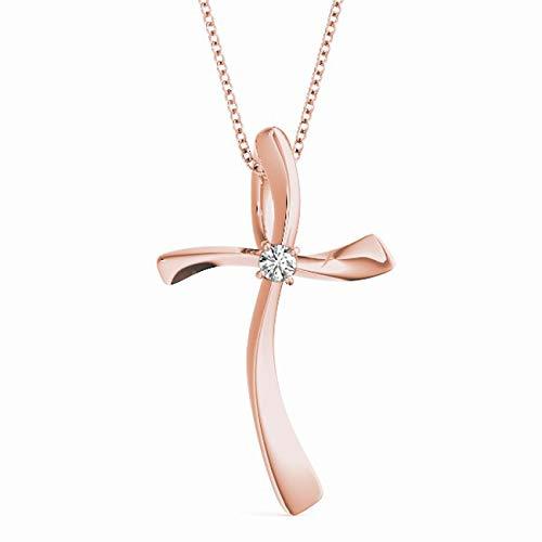 Rose 14KT 1/20 CT Single Solitaire Diamond Cross Pendant Necklace Amcor Design (0.05 Ct Single)