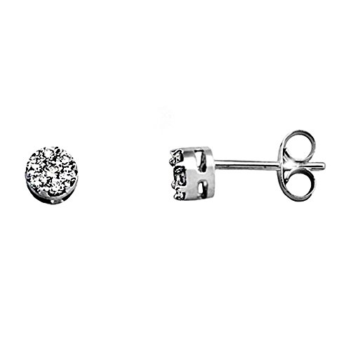 Boucled'oreille 18k or blanc 0.26ct rond brillant diamant [AA6591]