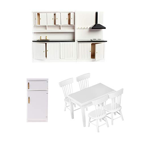 Fenteer 1/12scale Dollhouse Miniature Kitchen Furniture Set Fridge Refrigerator Table 4pcs Chair Models White