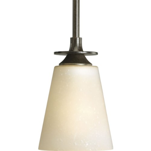 Progress Lighting P5139-77 1-Light Mini-Pendant with Seeded Topaz Glass, Forged Bronze