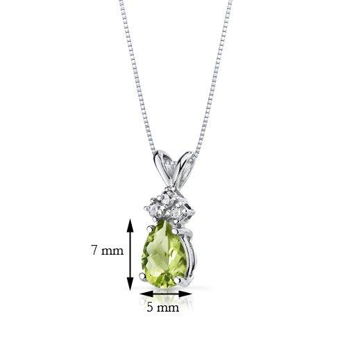 Revoni 14ct or blanc 585/1000 en forme de poire 0.75 Carats péridot diamant pendentif Collier