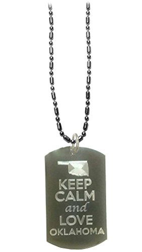 State Musical Keychain - Hat Shark Keep Calm and Love Oklahoma State Logo - Military Dog Tag, Luggage Tag Metal Chain Necklace