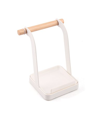 GAYADOO Ladle Stand Lid Rack Stand Spoon Rest Stove Organizer Storage Soup Spoon Rests,Lid And Ladle holder Kitchen Tool,White