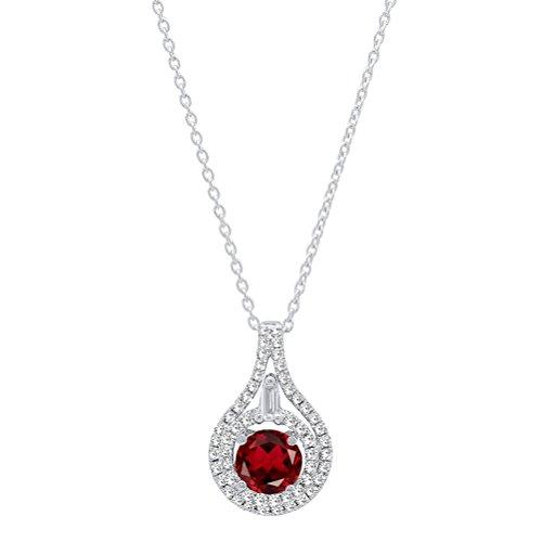 Dazzlingrock Collection 14K 5.5 MM Round Garnet And Round & Baguette Diamond Ladies Pendant, White Gold ()