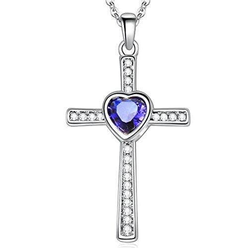 Jude Jewelers Stainless Steel Heart Shape Birthstone Cross Pendant Necklace (Dec-Tanzanite)