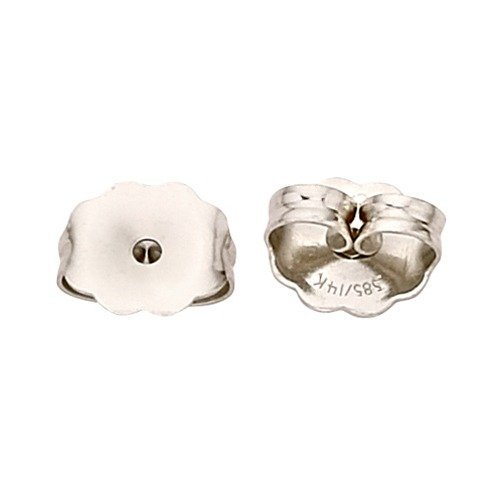 PARIKHS Pair of Friction Earring Backs(Heavy Ear nuts)Replacement back-findings in 14k White Gold