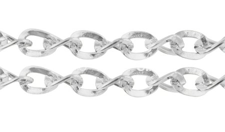 Silver Plated Fancy Faceted Twist Link Curb Chain Spool for Jewelry Making-Lead Free- (4mm x 5mm) - Fancy Links Necklace Chain