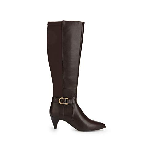 Kenneth Cole REACTION Women's Kick Dress Knee High Stretch Boot Decorative Buckle, Chocolate, 10 M US