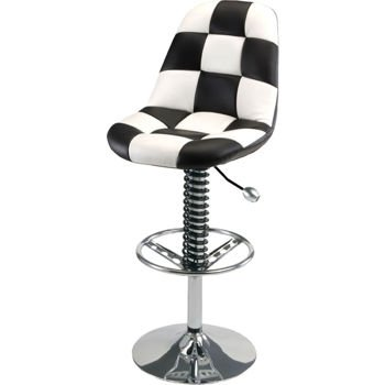 Intro Tech PitStop Pit Crew Garage Chair (Black and White) - RACING SUSPENSION SPRING with Billet Aluminium Shift Knob for Adjusting Chair Height - Leatherette with Contrasting Stitching and CHROME PLATED STEEL BASE