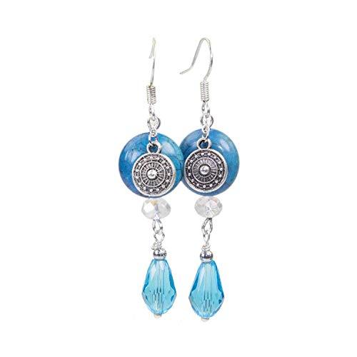 Yoki - SKULLS AND SPIRITS - Pendientes boho hippie azul con Ágata (hecho en España): Amazon.es: Handmade