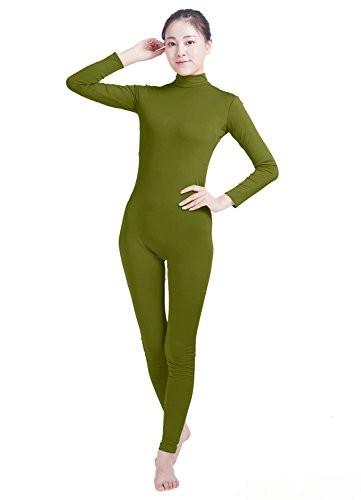 Oulinect Unisex Turtleneck Lycra Spandex Long Sleeve Footless Bodysuit Unitard for Women Olive Green L -