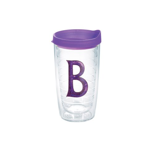 Mongram Letter - Tervis 1128242 INITIAL-B Purple Sequins Initial Tumbler with Emblem and Purple Lid 16oz, Clear