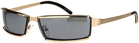 Mens Narrow Warp Rectangle Sport Mob Metal Rim Sunglasses