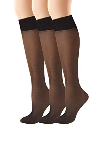 Hanes womens Alive Full Support Sheer Knee Highs 2-Pack(0A446)-Jet-1 Size-3PK
