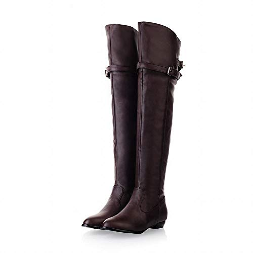Otoño botas botas Botas Largas Invierno E 43 Zj Marrón 36 Cuero Sobre Mujer La Planas De Rodilla wBRCnqI