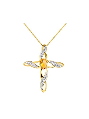 Diamond & Citrine Cross Pendant Necklace Set In Yellow Gold Plated Silver .925 with 18