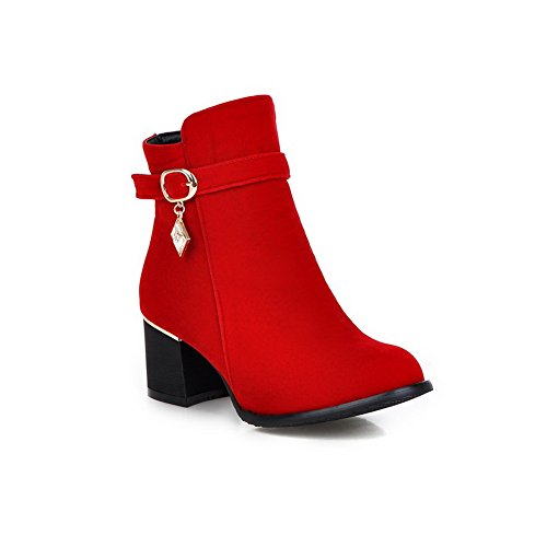 amp;N Ornament Metal Boots A Red Buckle Frosted Chunky Heels Girls dUqngxgXwP