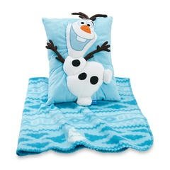 Disney Frozen Olaf Cuddly Snuggle Pillow and Fleece Blanket - 2 Piece Travel Set